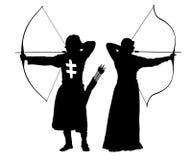 Archer mężczyzna i kobieta, bowman sylwetki ustalony wektor Zdjęcia Royalty Free