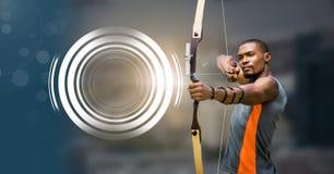 Archer mężczyzna z łękiem, strzała i Rozjarzony okrąg technologii interfejs Zdjęcie Stock