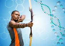 Archer man with blue and white dna chain in a blue background. Digital composite of archer man with blue and white dna chain in a blue background royalty free stock image