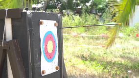 Archer que quita flechas de blanco metrajes