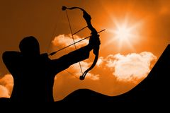 Free Archer Shadow Is Shooting An Arrow Against Sunset Background Royalty Free Stock Photo - 93203055