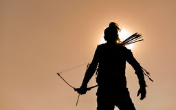 Archer at sunset royalty free stock photos