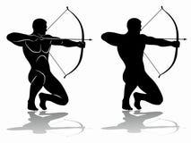Archer sylwetka, wektorowy rysunek Obraz Stock