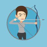 Archer training with the bow vector illustration. Royalty Free Stock Images
