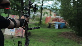 Archer training with the bow stock video footage