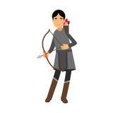 Archer w średniowiecznego stroju charakteru kolorowej ilustraci Fotografia Royalty Free