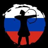 Archer Warrior Silhouette en la bandera de Rusia y el fondo negro Imagen de archivo libre de regalías
