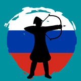 Archer Warrior Silhouette on russia flag background. Isolated Vector illustration Royalty Free Stock Photo