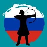 Archer Warrior Silhouette sur le fond de drapeau de la Russie Photo libre de droits