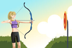 Archer woman. A vector illustration of an archer woman aiming at a target Royalty Free Stock Photos