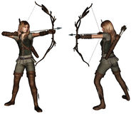 Archer woman 2 poses. Beautiful archer woman with 2 poses Stock Photography