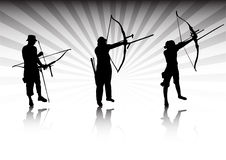 Archers in action. Vector illustration Royalty Free Stock Photo