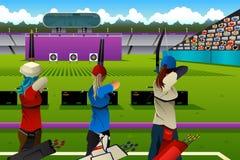 Archers en concurrence de tir à l'arc Photographie stock libre de droits