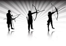 Archers en la acción Foto de archivo libre de regalías