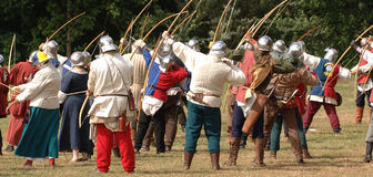 Archers at a medieval renactment. Archers with bows and arrows stock image
