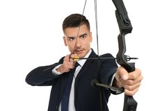 Archery молодого бизнесмена практикуя Стоковое Изображение RF
