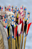 Archery. Detail of a traditional bow and some arrows Stock Photography