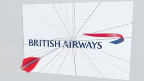 Archery arrow hits plate with BRITISH AIRWAYS logo. Corporate problems conceptual editorial 3D rendering. Company logo being hit by archery arrow. Business vector illustration
