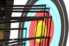 Archery. Arrows hit target, successful concept stock photo