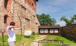 Archery. Attraction in the territory of Trakai Castle Stock Photos