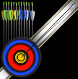 Archery Background - Arrows and Target Stock Photos