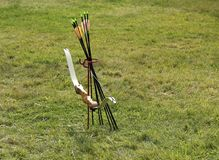 Archery Bow and Arrows. Royalty Free Stock Image