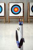 Archery bow, arrows and targets Stock Photo