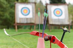 Archery equipment - bow arrows Stock Photography
