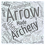 Archery equipment word cloud concept  background Royalty Free Stock Images