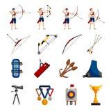 Archery Flat Icons Set Stock Image