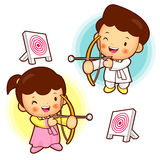 Archery games, South Korea children. Royalty Free Stock Image