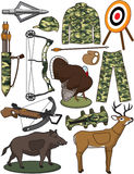 Archery Items. Illustrations of items/gear used in the sport of archery Stock Photography
