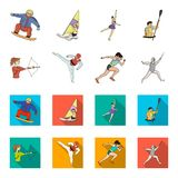 Archery, karate, running, fencing. Olympic sport set collection icons in cartoon,flat style vector symbol stock. Illustration Stock Photos