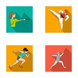 Archery, karate, running, fencing. Olympic sport set collection icons in flat style vector symbol stock illustration web Stock Image