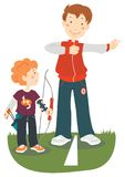 Archery lesson royalty free illustration