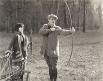 Archery lesson royalty free stock images