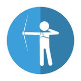 Archery player aiming bow game shadow. Vector illustration eps 10 Stock Photo