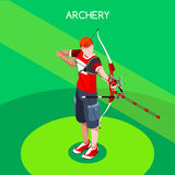 Archery Player  Summer Games Icon Set.3D Isometric Archery Player. Sporting Championship International Archery Competition.Sport Infographic Archery Vector Stock Photo