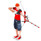 Archery Player Summer Games Icon Set.3D Isometric Archery Player. Sporting Championship International Archery Competition.Sport Infographic Archery Vector Stock Image