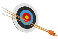 Archery practice target and a bundle of arrows isolated on a white background, 3D rendering. 3D render of an archery practice target and three long wood arrows Royalty Free Stock Photos