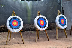 Archery range. Archery targets sitting on an archery range Royalty Free Stock Images