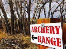 An archery range sign. Royalty Free Stock Images