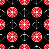 Archery seamless pattern - seamless texture red target. Archery seamless pattern - seamless texture with red target and shootings bow. Vector illustration Royalty Free Stock Images
