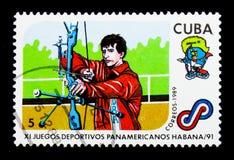 Archery, serie игр одиннадцатого лотка американское, около 1989 Стоковые Изображения