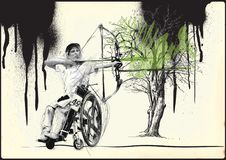Athletes with physical disabilities - Archery. ARCHERY. From the series SILENT HEROES - Athletes with physical disabilities. An hand drawn vector Royalty Free Stock Photo