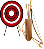 Archery set. Longbow in 3d with arrows and quiver with target on white Stock Photos