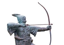 Archery Statue. The Statue of the Medieval Outlaw Robin Hood Royalty Free Stock Photos