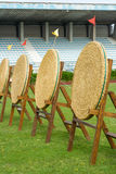 Archery straw empty targets on green field Royalty Free Stock Images