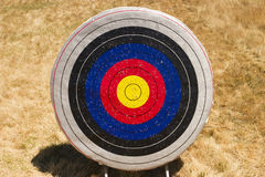 Archery Target. A single archery target. As a summer camp activity, this target shows the evidence of much practice with arrow marks royalty free stock image