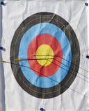 Archery Target. Arrows hitting bullseye of archery target Royalty Free Stock Photo